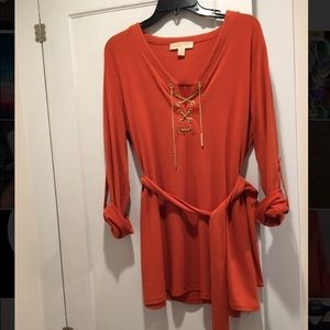 Orange MICHAEL Michael Kors belted tunic shirt